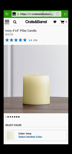 """4""""×4"""" ivory pillar candle new for Sale in Chicago, IL"""