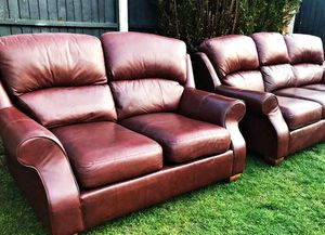 Marks & Spencer Ashbourne leather luxury sofa 3&2 immaculate can deliver local. for Sale in Bartlett, KS