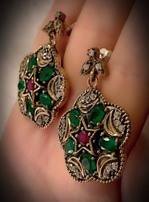 EMERALD PIGEON BLOOD RUBY EARRINGS Solid 925 Sterling Silver/Gold WOW! Brilliant Facet Oval/Round Cut Gems, Diamond Topaz M5818 V for Sale in San Diego, CA