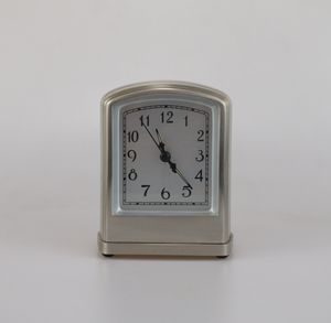 Pottery Barn Alarm Table Clock Silver Brushed Metal Art Deco Retro Style Home Decor for Sale in Johns Creek, GA