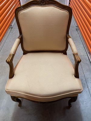 Antique chairs (set of 2) neutral cream beige upholstery for Sale in Miami, FL
