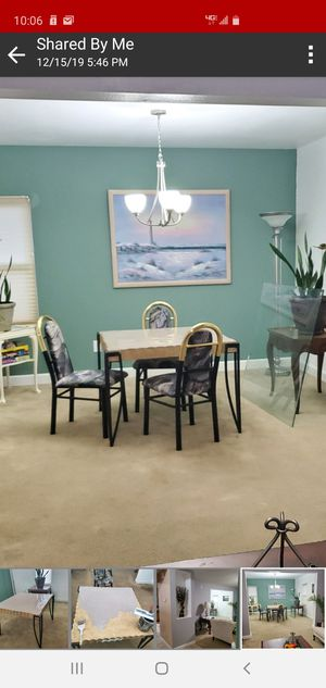 Dining or Kitchen Table Custom w/ Glass Top & 3 Chairs for Sale in Norfolk, VA