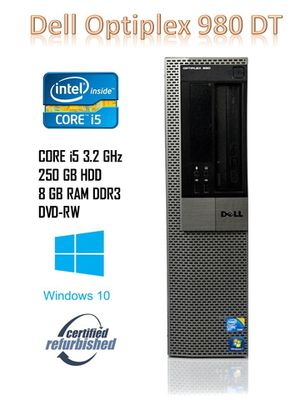 Desktop Computer Optiplex 980 DT Intel Core I5 3.2GHz | 8GB Ram | 250GB HDD | Windows 10 | MS Office for Sale in Kissimmee, FL