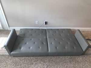 FUTON-COUCH FAUX GREY LEATHER for Sale in Atlanta, GA