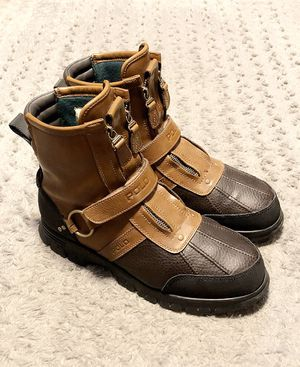 Mens Polo Ralph Lauren paid $175 size 10.5 like new! Only worn twice. Conquest Hi II moto boots Brown color. Double-zip fronts. No issues great boots for Sale in Washington, DC