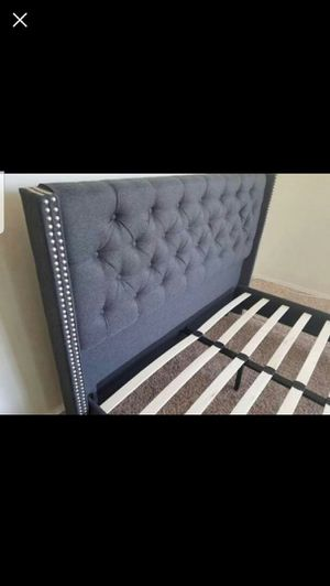 Queen Size Bed Frame, Blue Grey Color for Sale in Fountain Valley, CA