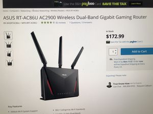 ASUS gaming router RT 86U for Sale in San Juan Capistrano, CA