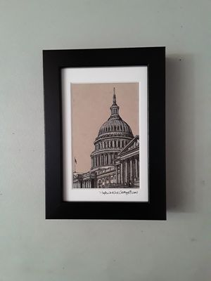 Pen and Ink Drawing - The United States Capitol, Washington D.C., USA. for Sale in HUNTINGTN BCH, CA