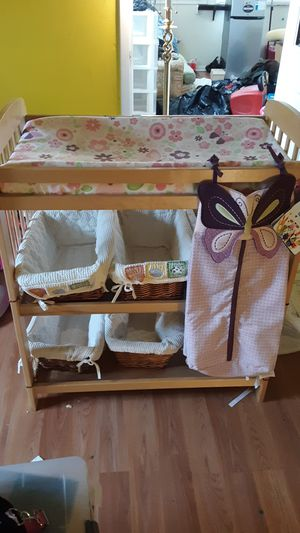 Wood Changing table,storage, butterfly diaper pad and holder lot for Sale in Oceanport, NJ