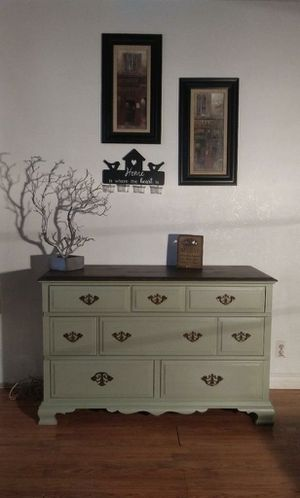 Beautiful antique green and walnut stained top solid wood dresser! for Sale in Pomona, CA