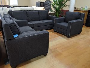 $195 every 2 weeks no credit needed 3 month no interest 3pc black gray linen sofa loveseat chair set for Sale in College Park, MD