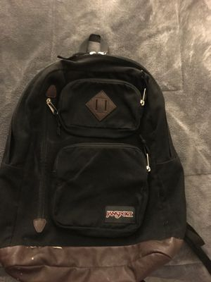 Jansport Backpack (Black/Brown Leather) for Sale in Union City, CA