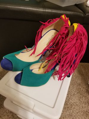 Colorful fringe heel sandals womens size 8 for Sale in DeSoto, TX