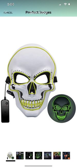 Halloween Mask,Light Up LED Mask with green LED Light,Scary Mask for Halloween Costumes, Cosplay, Festival, Halloween Mask for Men, Women, and Kids C for Sale in Brooklyn, NY