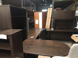 Dual desk set U shaped and standard desks bookcase cabinet shelves for Sale in Huntingburg, IN
