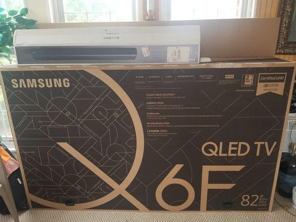 "Samsung QLED TV Q6F SERIES 82"" and sound bar 6 series"