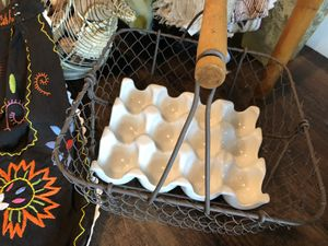 Vintage basket w/or w/o porcelain egg tray $9 or $14 w/ for Sale in Lake Mary, FL