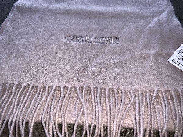 ROBERTO CAVALLI - Wool & Cashmere Blend Fringe Scarf - Opal Grey