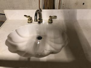 Cultured marble sink top single sink with faucets for Sale in Brandon, MS