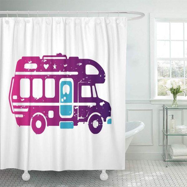 Auto Camper Cartoon Happy Bus Trailer Car Flat Graphic Passenger Bathroom Decor Bath Shower Curtain 60x72 inch Size:
