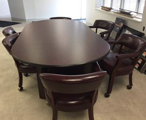 HOME / OFFICE CONFERENCE TABLE & 6 ROLLING CHAIRS, RED LEATHER for Sale in Woodbridge, VA