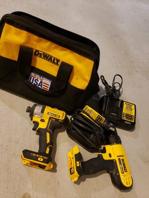 Dewalt drill 20v max XR 2 drill .. and 2 charger for 120 for Sale in Riverside, CA
