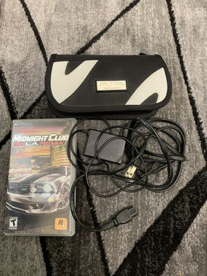 PSP carrying case, charger, and midnight club videogame for Sale in Aurora, CO