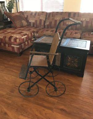 Antique doll pram VICTORIAN wheel wood chair for Sale in Glendale, AZ