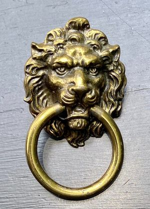 Vintage Brass Lion Head Swan Neck Drawer Dresser Drop Bail Pull Knobs Handles DIY Projects for Sale in Chapel Hill, NC