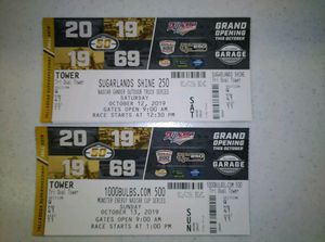 Talladega Tickets Tri Oval Section Q Row 41 seats 11 & 12 $125 for Sale in Pell City, AL