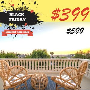 BLACK FRIDAY ONLY $399: 3-Piece Patio Set with 1 Rattan Table and 2 Cushioned Chairs for Sale in El Monte, CA