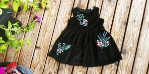 Carter's baby girls size 6M black velour and fall flowers embroidery for Sale in Tacoma, WA