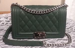 Chanel Dark Green Medium Classic Caviar Boy Bag for Sale in Mill Creek, WA