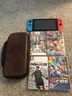 Nintendo Switch + 4 games for Sale in Coppell, TX