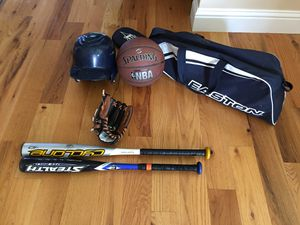 Baseball bats, baseball gloves mitt, baseball helmet, bag for Sale in Aurora, OR