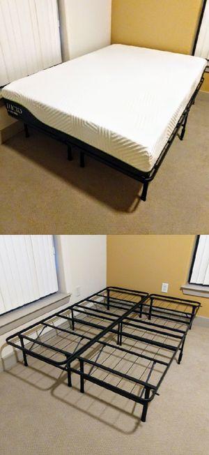 "Full-Size Lucid 10"" Latex Hybrid Mattress & Foldable Platform Bed Frame for Sale in Durham, NC"