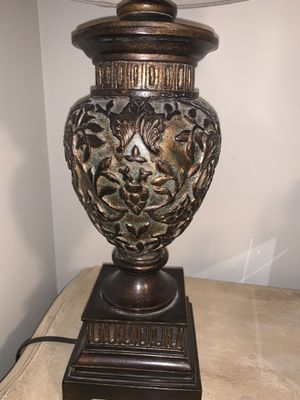 Beautiful brown lamp with a hint of turquoise and cream shade for Sale in Nashville, TN