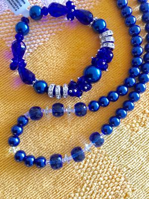 Blue Beads necklace and bracelet together 🦋 Crystals and blue glass beads fashion jewelry 🦋 Welcome to visit Eva 's page ! for Sale in Lincolnia, VA