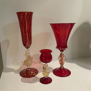 Venetian Murano Hand Blown Dolphin and Swan Wine Glasses with 24 Carat Gold for Sale in Los Angeles, CA