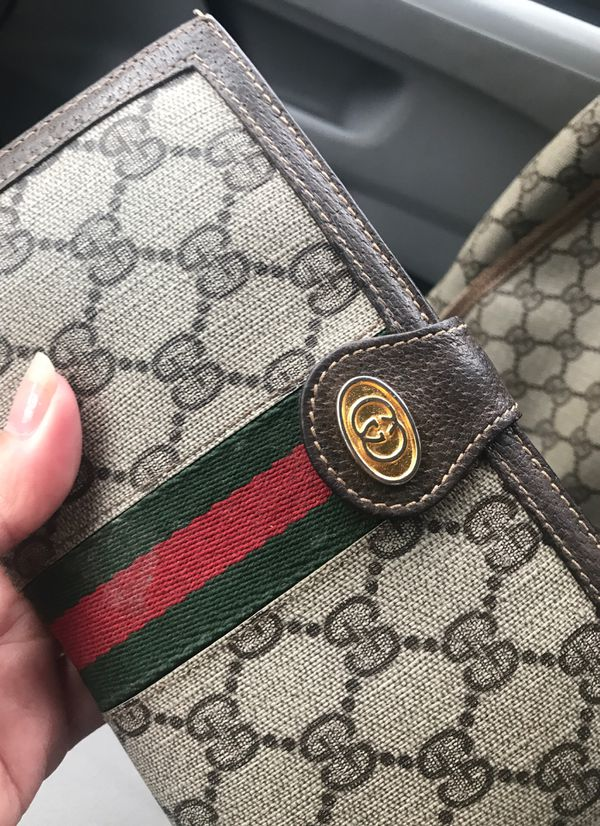 Vintage and authentic Gucci tote bag and wallet