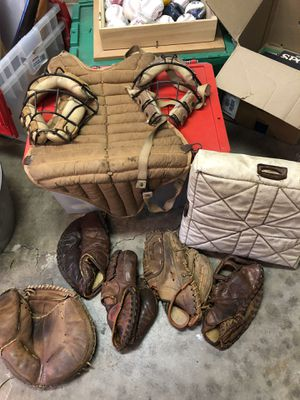 Vintage Baseball Gloves, Catchers Mask, Vest, and Base for Sale in San Diego, CA