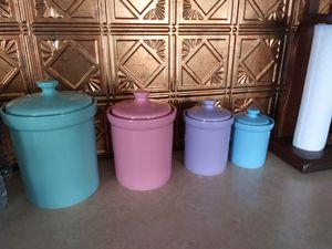 Mid century pastel canister set for Sale in Belleville, NJ