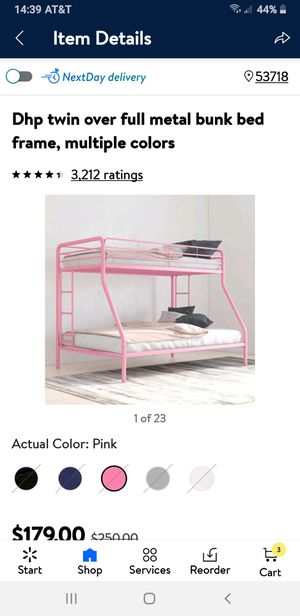Pink bunk bed with mattresses like new for Sale in Madison, WI
