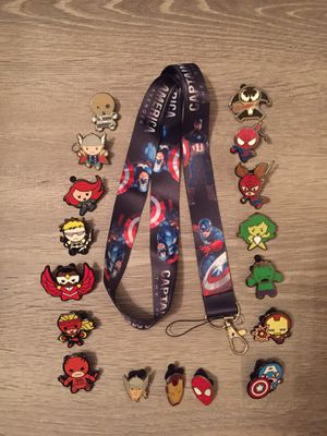 Captain America Lanyard with 17 Marvel tradable pins for Sale in Orlando, FL