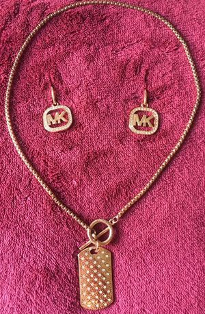 Michael Kors Dog Tag Necklace + MK Logo Earrings for Sale in Midlothian, VA