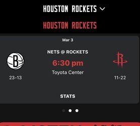 Nets Vs Rockets March 3 6:30pm $200 Each Ticket for Sale in Houston,  TX