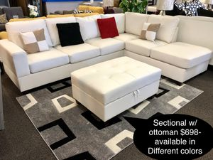 Brand new leather sectional with storage ottoman ((( available in Different colors for Sale in Fresno, CA