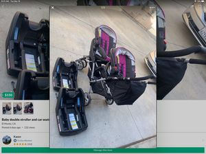 Baby double stroller and car seats like new for Sale in El Monte, CA