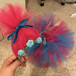 Trolls Costume Queen Poppie Headband And Tutu Skirt for Sale in Glendale, CA