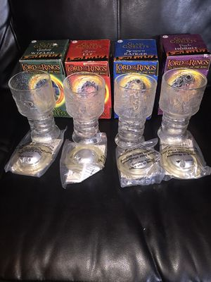The Lord of the rings glass goblets collection for Sale in Lacey Township, NJ